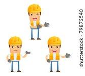 set of funny cartoon builder in ...   Shutterstock .eps vector #79873540