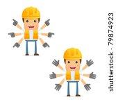 set of funny cartoon builder in ... | Shutterstock .eps vector #79874923