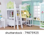 child's room with white bed and ... | Shutterstock . vector #79875925