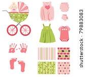 Stock vector baby girl elements 79883083