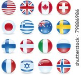 World Flag Buttons. Uk  Canada...