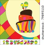 Numbers for  Birthday Cake. Greeting card