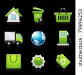 environmental icon set on black ... | Shutterstock .eps vector #79896253
