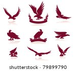 animal,bird,black,black and white,clip-art,eagle,emblem,flight,flying,hunting,icon set,illustration and painting,insignia,isolated,nature