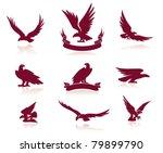 eagle silhouettes set