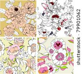 set of floral seamless pattern | Shutterstock .eps vector #79901062