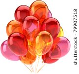 Anniversary balloons party birthday celebrate decoration multicolor classic. Fun happy joy abstract. Holiday celebration greeting concept. Detailed CG image 3d render. Isolated on white background - stock photo