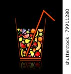 mix of fruit juice in glass for ... | Shutterstock .eps vector #79911280