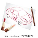girl car painted with lipsticks ... | Shutterstock .eps vector #79913929
