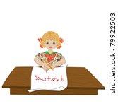 little schoolgirl  child is at... | Shutterstock .eps vector #79922503