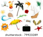 collection of summer and beach... | Shutterstock .eps vector #79923289