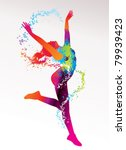 the dancing girl with colorful... | Shutterstock .eps vector #79939423