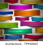 colorful paper cuts with pins ... | Shutterstock .eps vector #79940065
