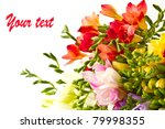 beautiful bouquet of summer flowers as a gift - stock photo