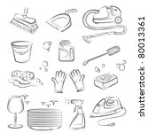 house cleaning stuff | Shutterstock .eps vector #80013361