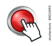 hand icon over red button | Shutterstock . vector #80014093