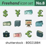 freehand icon set   finance