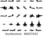 jet fighter silhouettes | Shutterstock .eps vector #80057653