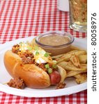 Chili Hot Dog With Cheese And...