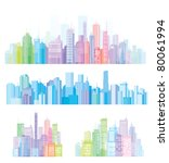 colorful panorama of cities. | Shutterstock .eps vector #80061994