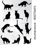 Stock vector a collection of black cats 80070691