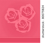 Vector Red Halftone Roses Card