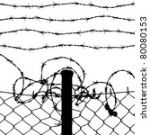 Vector Of Wired Fence With Four ...