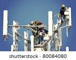 crew installing antennas on the ...   Shutterstock . vector #80084080