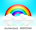 rainbow and clouds illuminated... | Shutterstock .eps vector #80095960