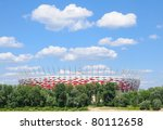WARSAW - JUNE 13:Construction site of Poland's National Stadium one year before the Euro 2012 on June 13, 2011. Poland and Ukraine will co-host the 2012 European Football Championship. - stock photo