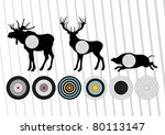 Animated shooting range hunting targets set illustration - stock vector