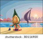 child on the beach watching the ... | Shutterstock .eps vector #80116900