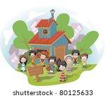 cute happy cartoon kids in... | Shutterstock .eps vector #80125633