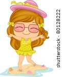 Illustration of a Girl Playing in the Seashore - stock vector