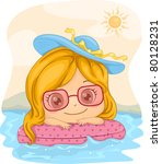 Illustration of a Girl Leaning Against a Lifebuoy - stock vector