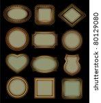 set of retro frames on a black... | Shutterstock .eps vector #80129080