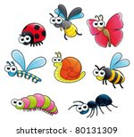 bugs   1 snail. funny cartoon... | Shutterstock .eps vector #80131309