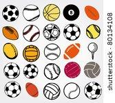 set ball sports icons symbols... | Shutterstock .eps vector #80134108