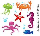 cute sea creatures   Shutterstock .eps vector #80139946