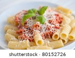 Pasta with tomatosauce - stock photo