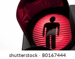 Traffic lights with the red light lit. - stock photo