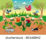 animal,ant,background,bee,bug,butterfly,caterpillar,character,childhood,color,countryside,daisy,dragonfly,expression,eye