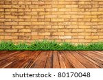 Old Brick Wall And Green Grass...