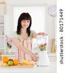 beautiful brunette woman using... | Shutterstock . vector #80171449