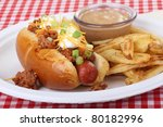 Closeup Of A Chili Hot Dog With ...