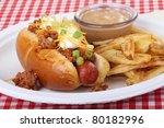 Closeup Of A Chili Hot Dog Wit...
