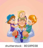 happy father with children | Shutterstock .eps vector #80189038