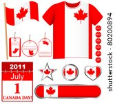 canada day. set of icons and... | Shutterstock . vector #80200894
