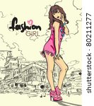 fashion girl in sketch style on ... | Shutterstock .eps vector #80211277