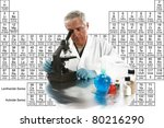 """a medical research scientist or chemist works on a cure for something to help mankind. isolated on white with room for your text, with the """"periodic table of chemical elements"""" in the background. - stock photo"""